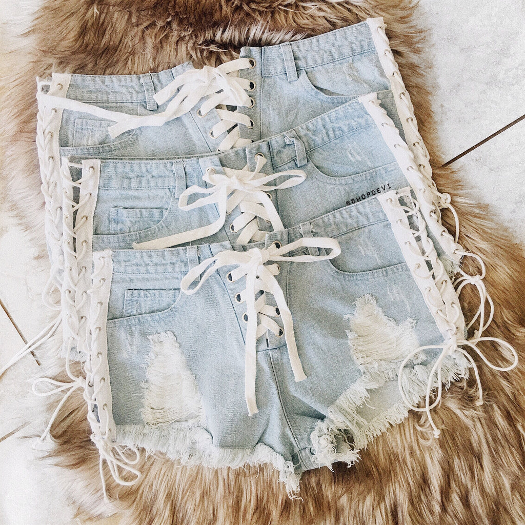 Cora Lace Up Denim Shorts
