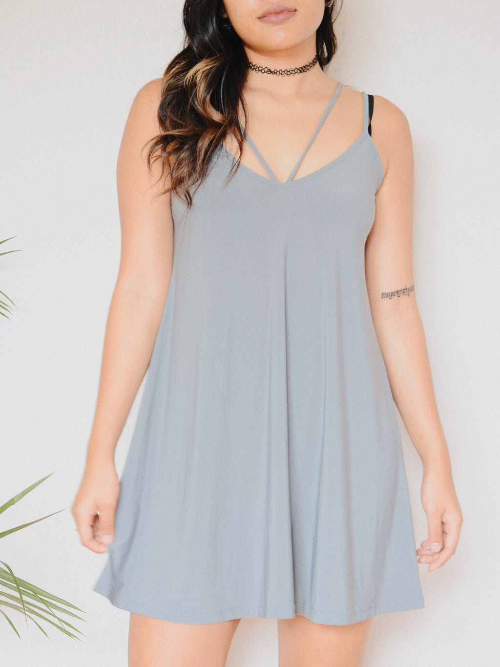 Ada Two Strap Swing Dress (Cool Grey)