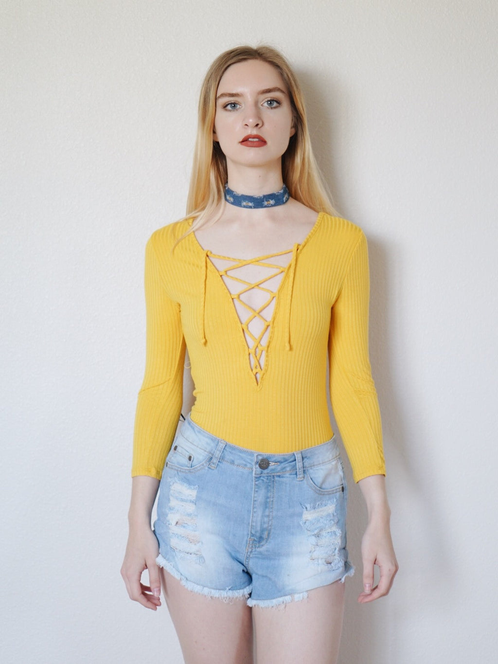 Athena Lace Up Ribbed Bodysuit (Mustard)