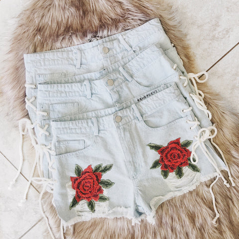 Ophelia Floral Patch Denim Shorts