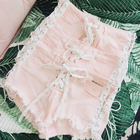 Mckinley Lace Up Shorts (Pink)