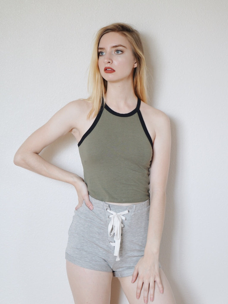 Knit Lace Up Shorts (Heather Grey)