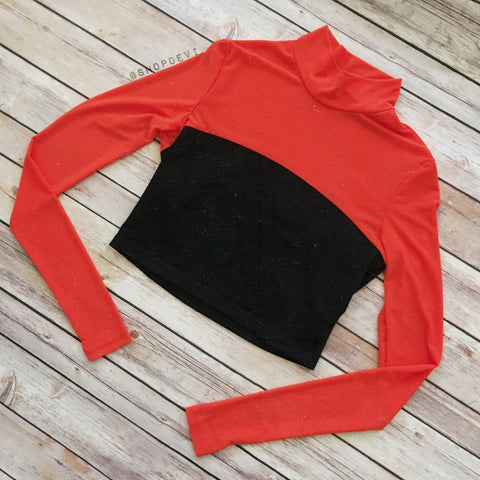 Orange Mesh Top Crop Longsleeve