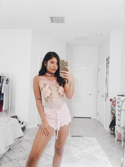 Katia Ivory With Rose Print Bodysuit