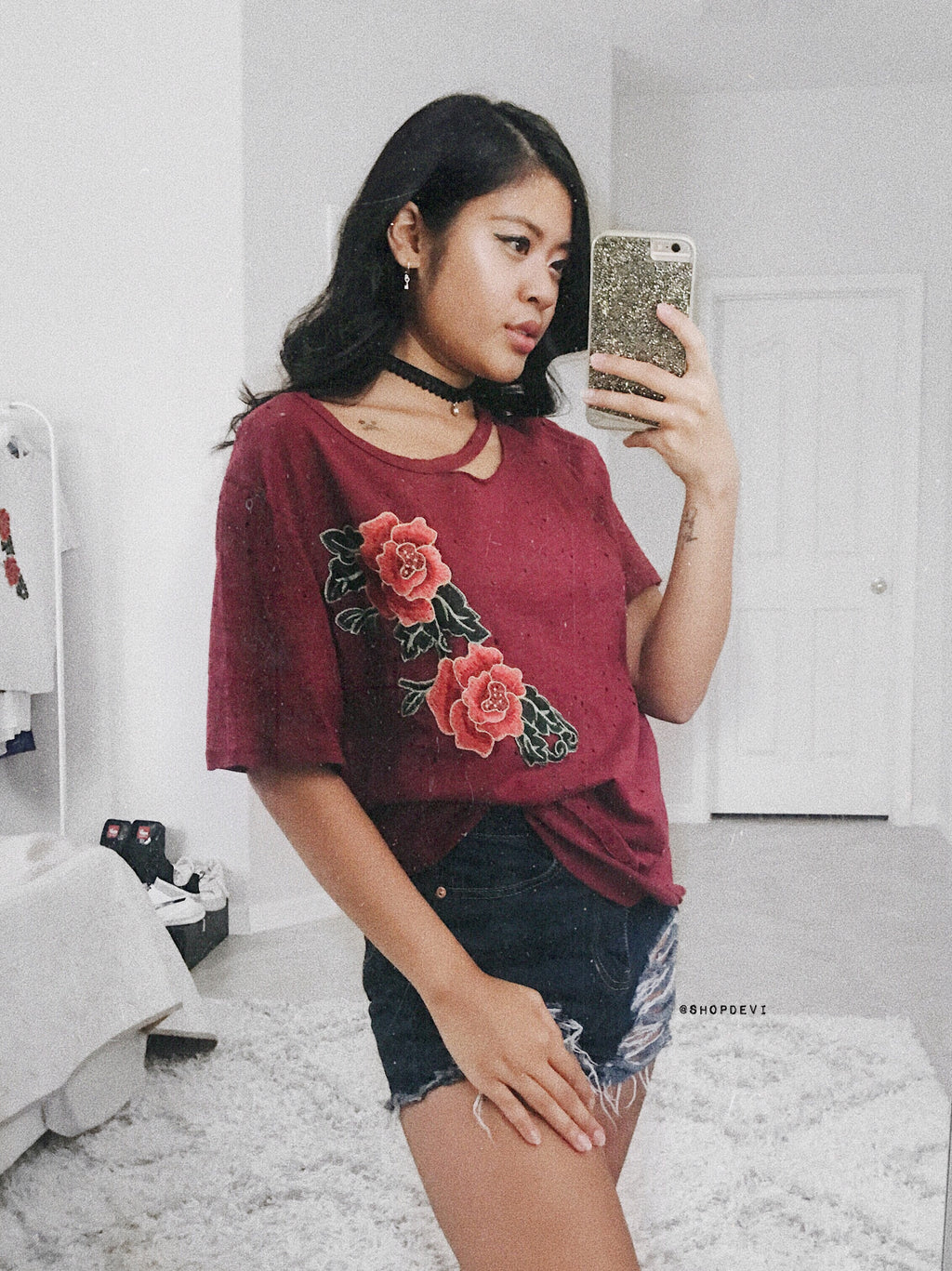 Masie Rose Tee (Burgundy)