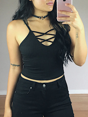 Ginger Lace Up Ribbed Tank (Black)