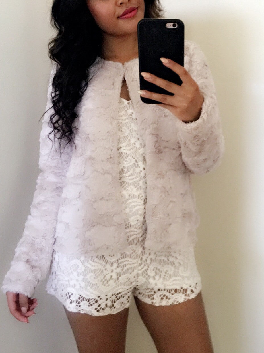 Taupe Faux Fur Light Jacket