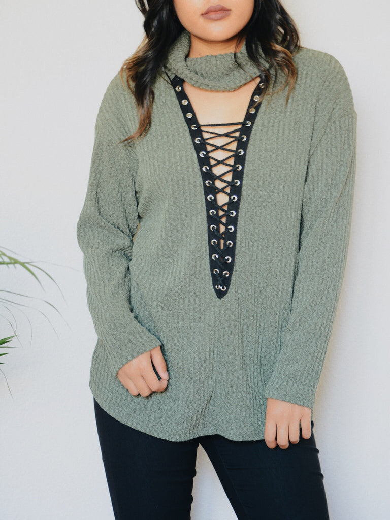 Farrah Lace Up Turtle Neck Top (Olive)