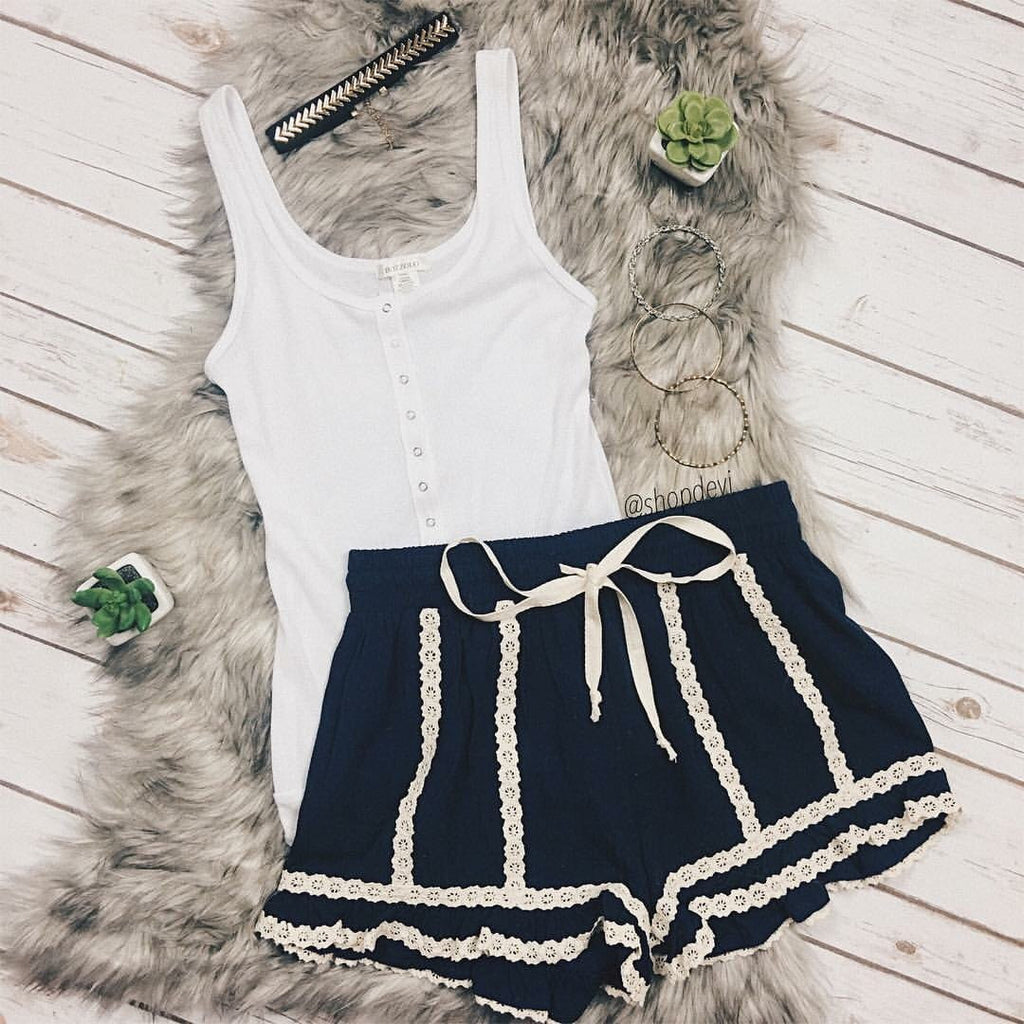 Navy Cream Crochet Trim Shorts