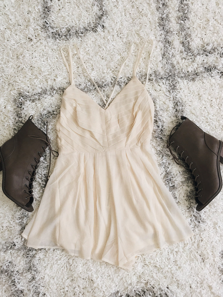 Jada Cream Pleated Romper