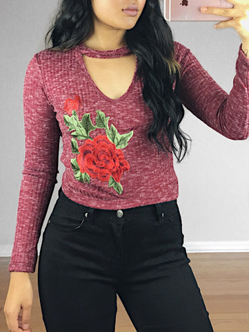 Nicole Floral Embroidered Knit Top (Burgundy)