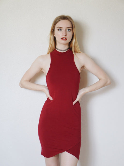 Iliana Bodycon Dress (Burgundy)