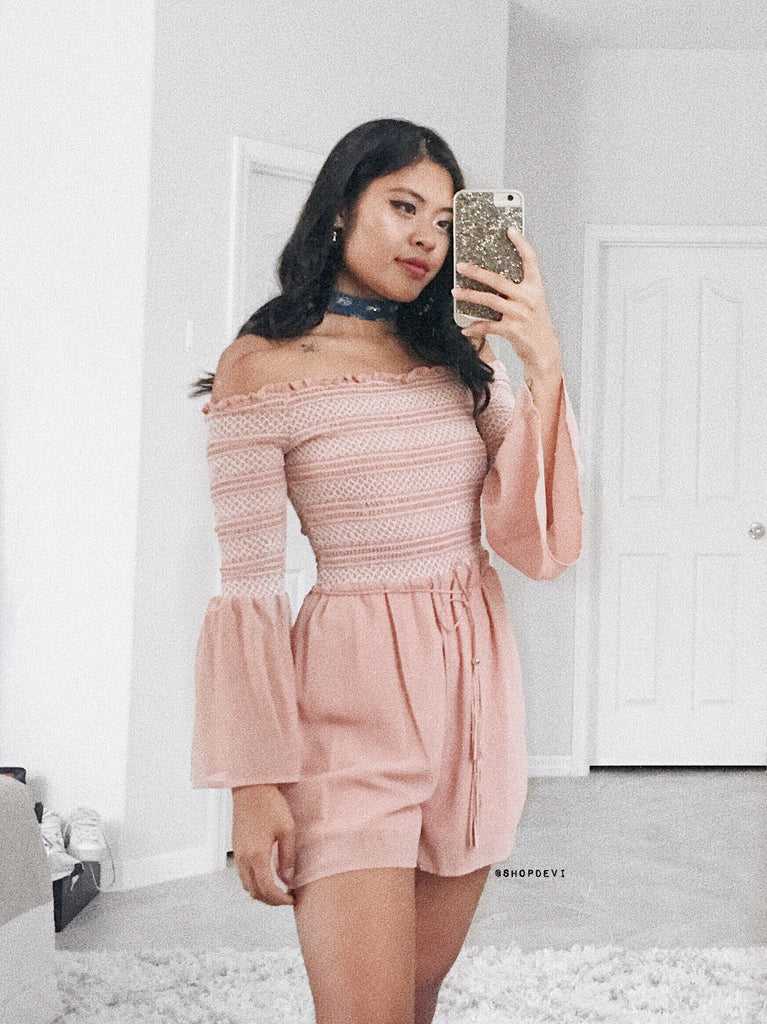 Margaux Off The Shoulder Romper (Mauve)