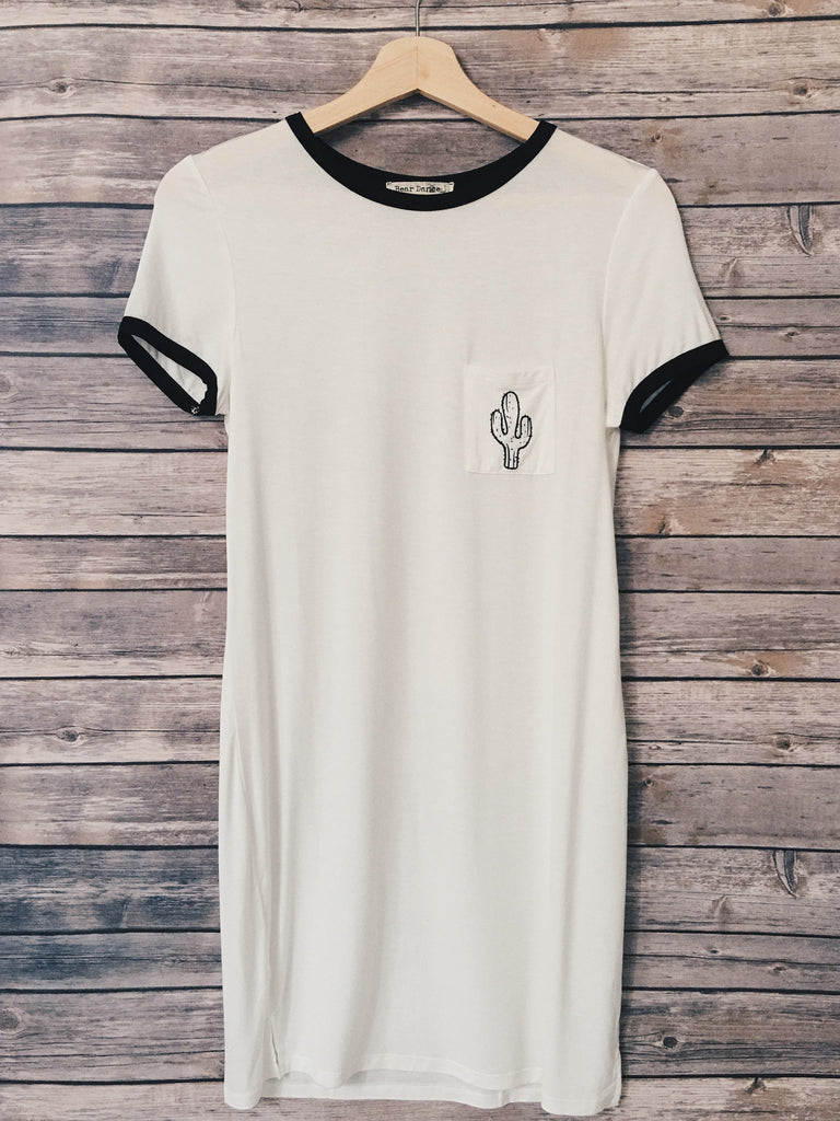 Cactus Pocket Tee Dress (Ivory)