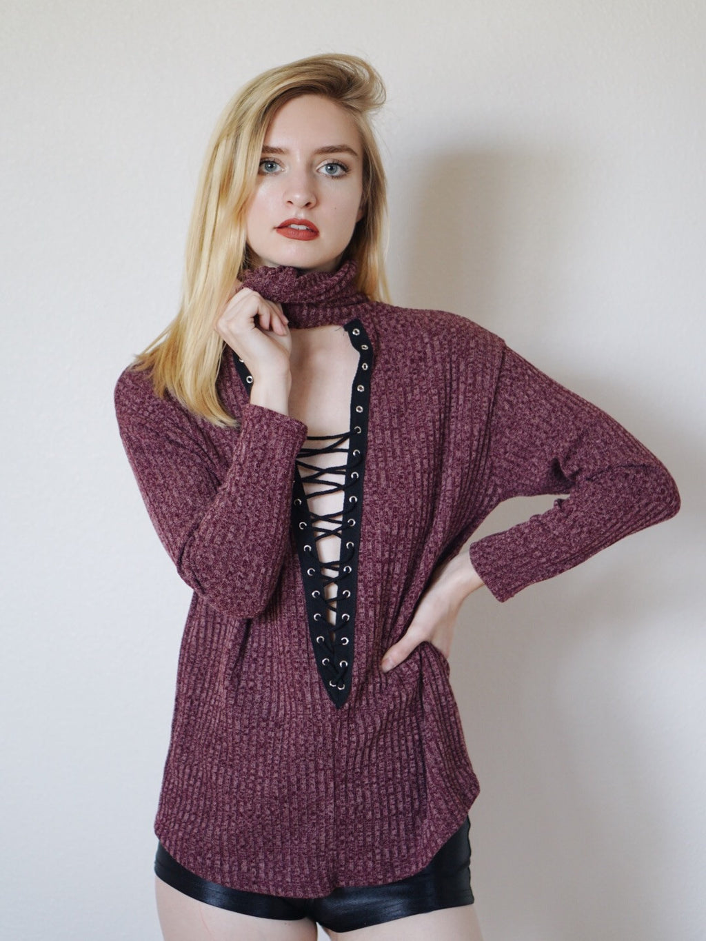 Farrah Lace Up Turtle Neck Top (Burgundy)