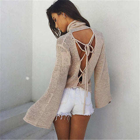 Anita Open Back Flare Sleeve Sweater