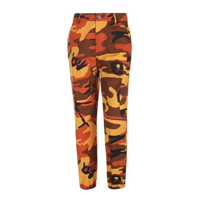 Orange Camouflage Harem Pants