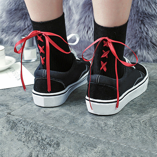 Japanese Style Satin Ribbon Lace Up Socks
