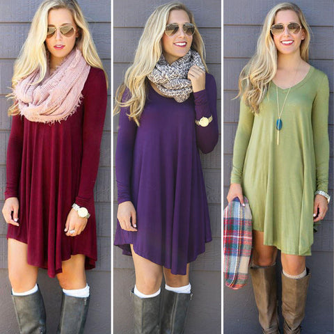 Fashion Womens Summer Long Sleeve Casual Blouse Loose Tops T Shirt Dress (Purple, Burgundy, Blue, Green)