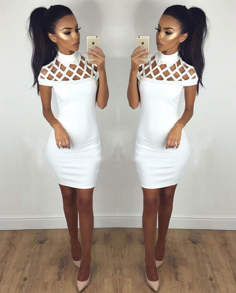 Summer Women Sleeveless Bandage Bodycon Evening Party Cocktail Mini Dress (White)
