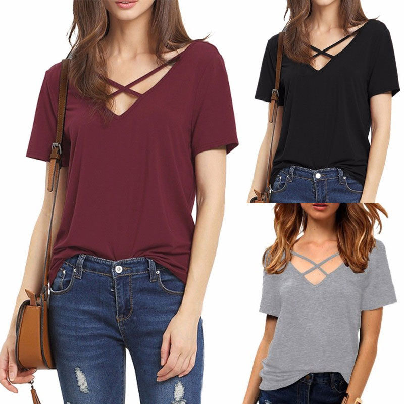 Shannon Casual Tee (Black, Burgundy, Olive, Gray)