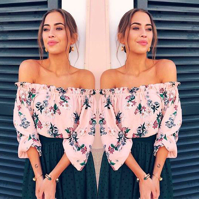 Carolyn Floral Off The Shoulder Top - Fashion Summer Women Floral Casual  Loose Blouse Off Shoulder cc6c060b95