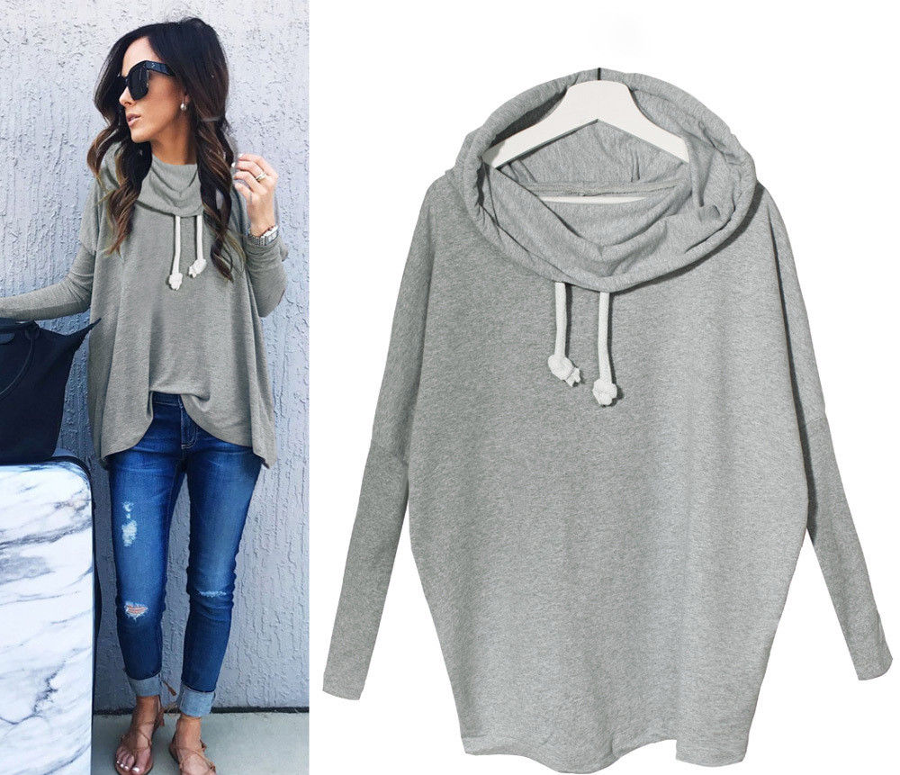 Fashion Women Casual Long Sleeve Hoodie Jumper Pullover Sweatshirt Tops Shirt (Gray)