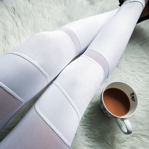 White Mesh Panel Fitness Legging - Womens Sports Gym Yoga Workout High Waist Running Elastic Fitness Leggings