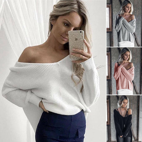 Jenny Knit Sweater - Oversized Women Off The Shoulder Jumper Top V Neck Loose Sweater Pullover Blouse