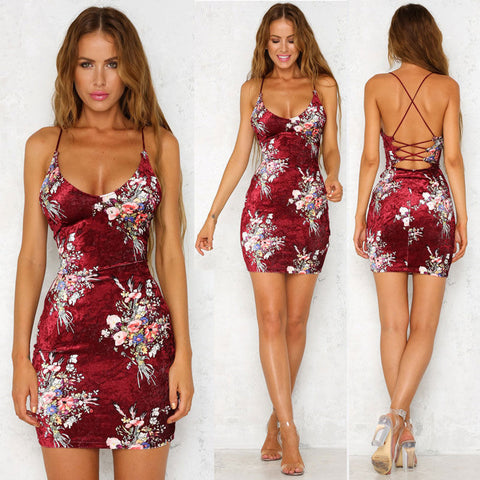 Nikki Bodycon Dress - Women's Summer Bandage Bodycon Evening Party Cocktail Casual Short Mini Dress