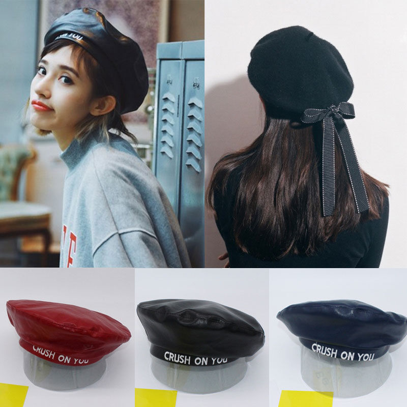 Crush On You Beret - New Womens Ladies PU Leather Beret Harajuku Wool Basque Beret Hat With Bowknot