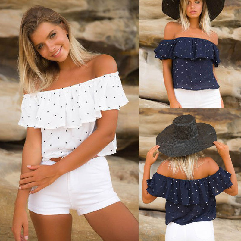Plt Off The Shoulder Polka Dotted Top (Navy, White)