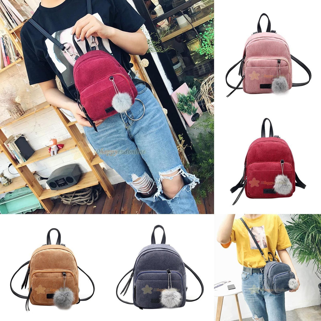 Mini Corduroy Backpack (Multiple Colors)