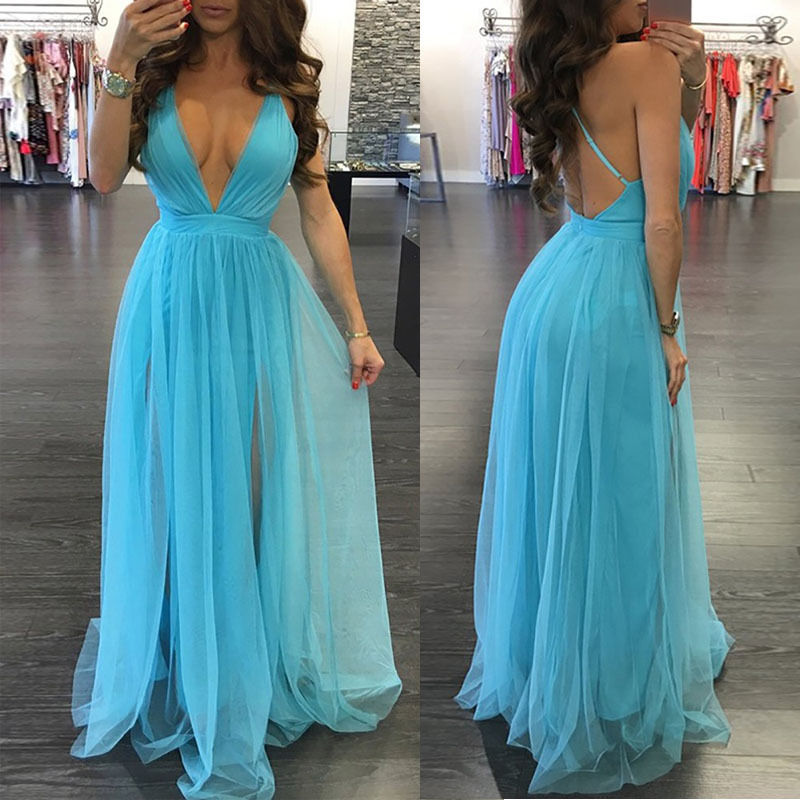 Women Summer Long Maxi BOHO Evening Party Dress Beach Dresses Sundress (Light Blue)