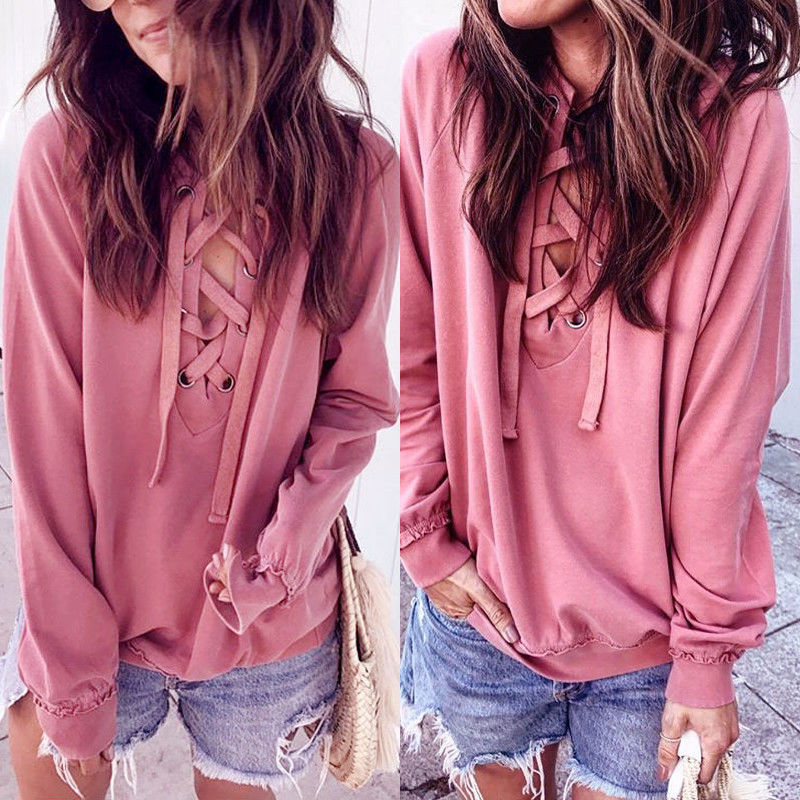 Pink Lace Up Pullover - Women Fashion Blouse Autumn Casual Loose Long Sleeve Blouse Tops Casual T-shirt