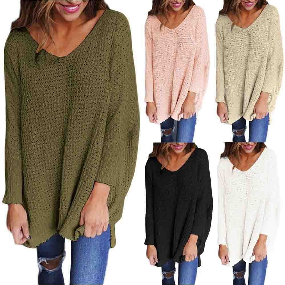 Dilany Knit Sweater - Women V Neck Knitted Sweater Ladies Loose Oversized  Casual Chunky Jumper Tops 0bd1f9fe8280