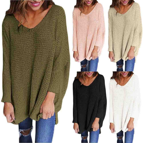 Dilany Knit Sweater - Women V Neck Knitted Sweater Ladies Loose Oversized Casual Chunky Jumper Tops