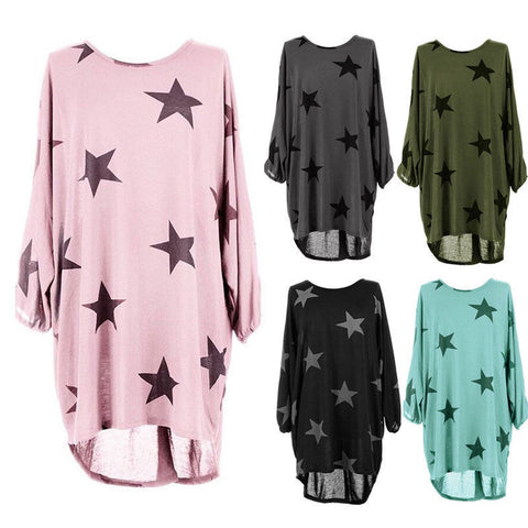 Star Print Long Sleeve (Black, Blue, Gray, Green, Pink)