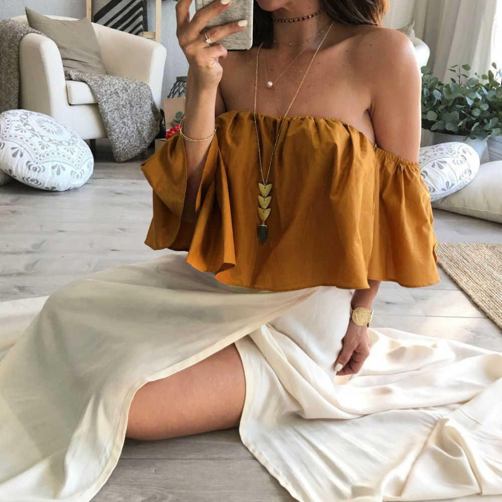 Hayley Off The Shoulder Top - Women Off Shoulder Short Sleeve Fashion Shirt Casual Blouse Tops Loose T-shirt