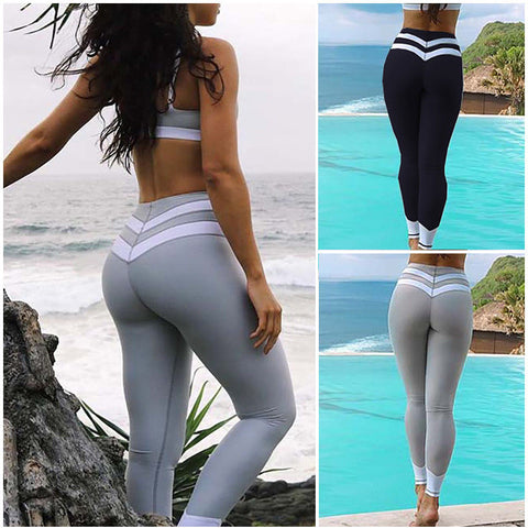 Two Stripe Fitness Leggings (Black,Gray) - Women's Sports YOGA Workout Gym Fitness Leggings Pants Jumpsuit Athletic Clothes