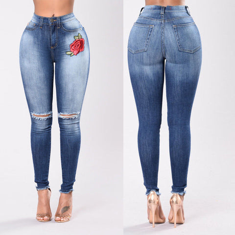 Floral Patch High Waisted Jeans