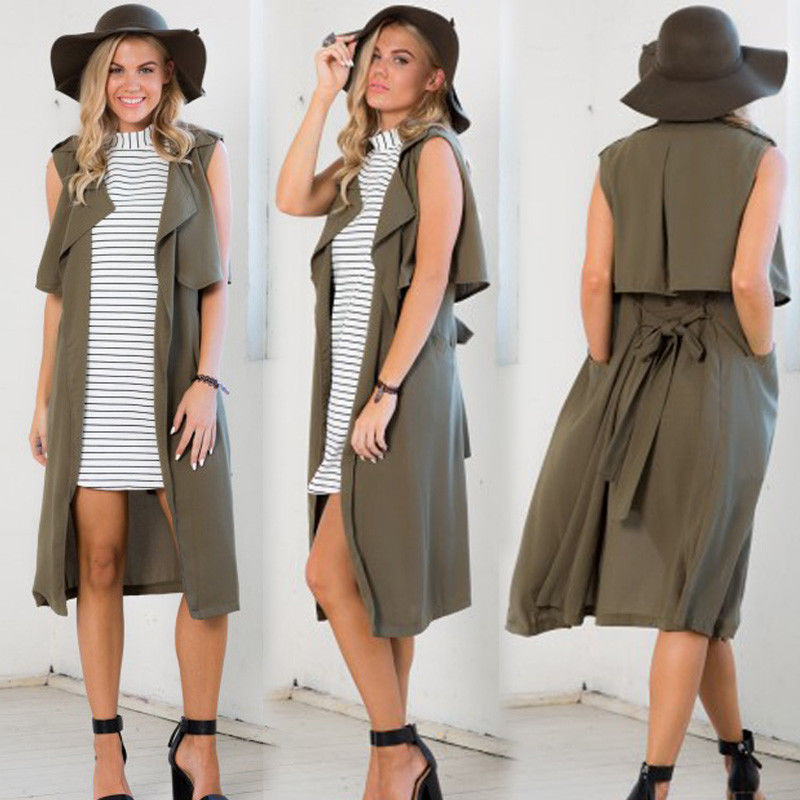 Trish Olive Open Cardigan - New Women Sleeveless Cardigan Loose Sweater Jacket Coat Outwear Top