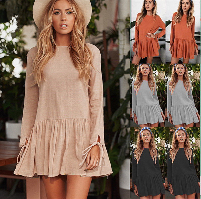 Jessa Boho Dress - New Women Summer Casual Long Sleeve Evening Party Beach Dress Short Mini Dress