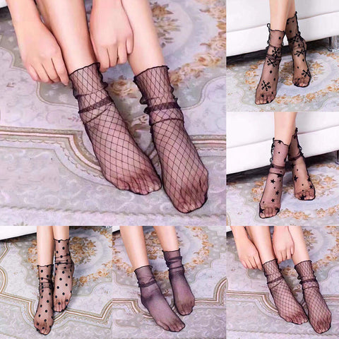 Mesh Socks - Fashion Women Ruffle Fishnet Ankle High Socks Mesh Lace Fish Net Short Socks