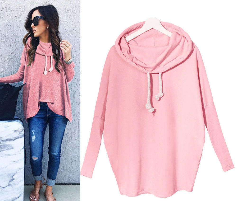 Fashion Women Casual Long Sleeve Hoodie Jumper Pullover Sweatshirt Tops Shirt (Pink)