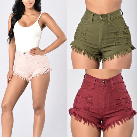 Lauren High Waisted Shorts (Pink, Army Green, Burgundy)
