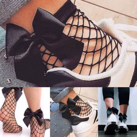 Fishnet Bow Socks - Fashion Women Ruffle Fishnet Ankle High Socks Bow Mesh Lace Fish Net Short Sock