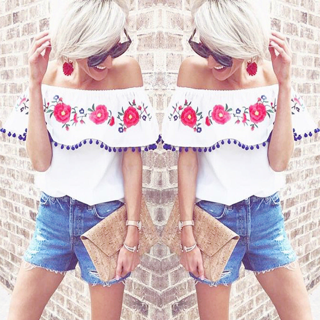 Callie Top - Fashion Summer Women Floral Casual Loose Blouse Off Shoulder Crop Tops T-Shirt