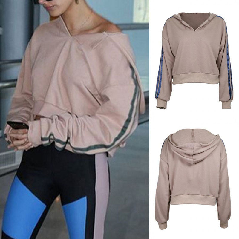 Stripe Sleve Khaki Hoodie - Women Long Sleeve Hoodie Sweatshirt Sweater Casual Hooded Tops Jumper Pullover