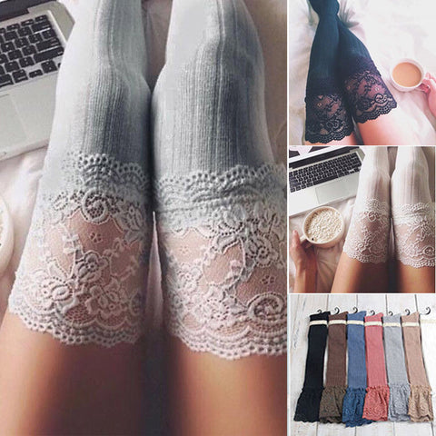 Lace Top Thigh Tights - Women's Sheer Lace Knitting Thigh High Stockings Plus Size Over The Knee Socks